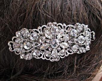 Crystal hair Comb, Bridal hair clip, Wedding comb, Hair accessory, Silver rhinestone, hair Flower Decorative Combs, Bridal Barrette