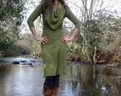 Organic Super Cowl Below Knee Fleece Dress - ( Hemp and Organic Cotton Fleece ) - organic hemp dress