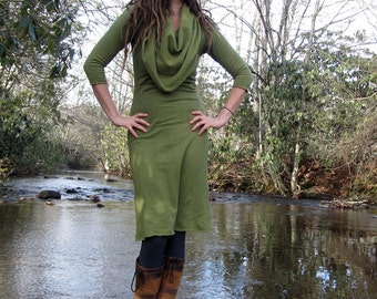 Organic Super Cowl Below Knee Fleece Dress - ( Hemp and Organic Cotton Fleece ) - organic hemp dress