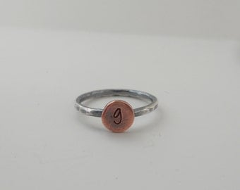 Silver Initial Ring - Monogram Ring - Personalized Letter Jewelry