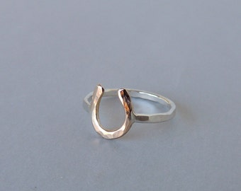 Horseshoe Ring - Equestrian Jewelry - Silver and Gold Ring