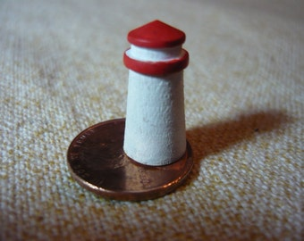 Red and White Lighthouse Dollhouse Miniature 1 - 12 scale Hand Painted Wood
