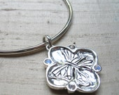 Blue Moonstones and Sterling- Cherry Blossom/ Butterfly Bangle