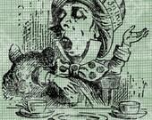 Digital Download Mad Hatter Alice in Wonderland digi stamp, digis, digital stamp, Lewis Carroll, Tea Party