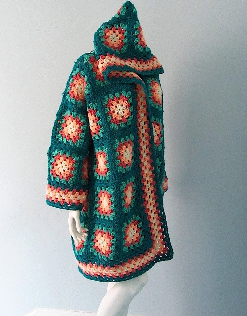 Vintage Crocheted Granny Square Jacket With Hood
