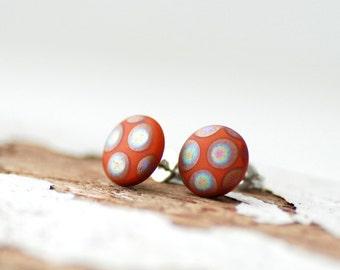 Stud Earrings, Earthy Earrings, Post Earrings, PolkaDot Jewelry, Autumn Earrings, Cinnamon Brown, Geometric Jewelry