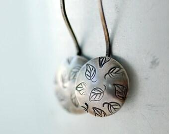 Silver Earrings, Stamped Earrings, Metalwork, Leaf Earrings, Nature Jewelry, Whimsical Earrings, Sterling Silver Disc Earrings