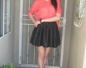 Gathered Black Lace Mini Skirt-High Waist