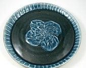 Black Mountain Stoneware Plate - Textured Clay Platter - Porcelain Flower - Handmade Ceramic Wall Art - Wheel Thrown Pottery - Ships Today