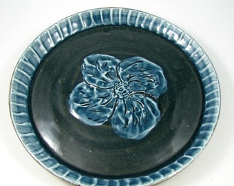 Black Mountain Stoneware Plate - Textured Clay Platter - Porcelain Flower - Handmade Ceramic Wall Art - Wheel Thrown Pottery - Ships Today