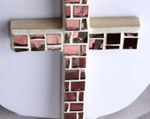 Pink Wall Cross, Rose Blush, mirror mosaic
