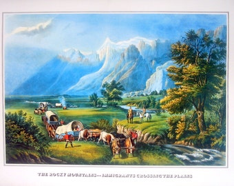 Currier and Ives Print - The Rocky Mountains - Immigrants Crossing the Plains - 1978 Large Vintage Book Page for framing