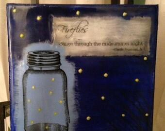 "6 x 6 Original Encaustic Painting/Collage, ""Fireflies"""