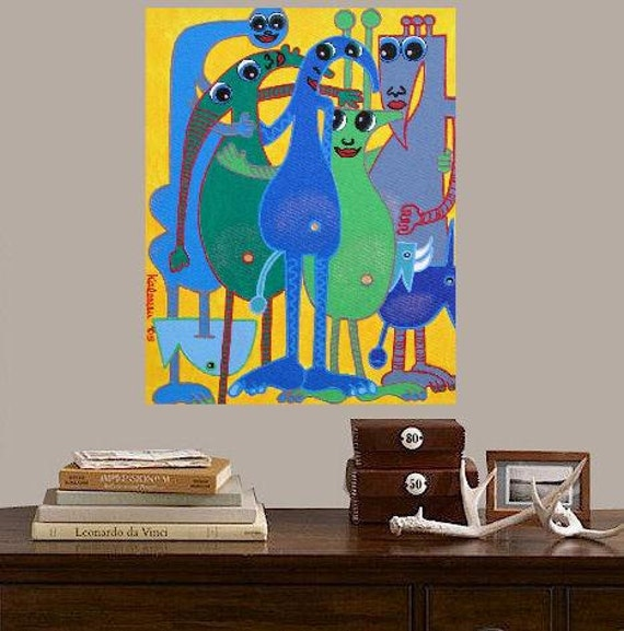 """Best  Buddies... original painting, 11.8x15.7"""", 30x40 cm, acrylic, canvas with wedge frame, friend, buddy, abstract, surreal, fantasy"""