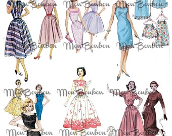 Retro Sewing Pattern Girls Clip Art Digital Collage Sheet- .png and .jpg format - INSTANT DOWNLOAD