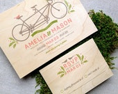 Tandem Bike & Birds Real Wooden Wedding Invitation