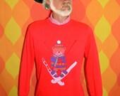 vintage 80's sweatshirt SKI teddy bear applique 3-D pom pom rainbow WTF raglan sweater kawaii Large