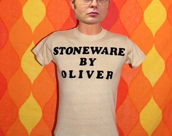 vintage 70s t-shirt STONEWARE by oliver 420 grass tee shirt Small flock 80s funny humor
