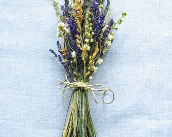 Summer Wildflower Wedding Bridesmaid Bouquets of Montana Lavender  Larkspur and Wheat