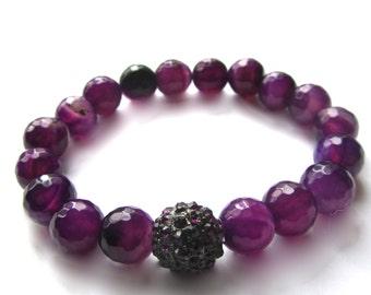 Purple Beaded Bracelet, Agate Stone Stretch Bracelet,  Beaded Jewelry, Yoga Bracelet
