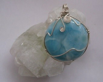Larimar Round Wire-Wrapped Sterling Silver Pendant