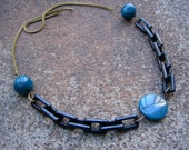 Eco-Friendly Statement Necklace - Serendipity - Recycled Vintage Metal Mesh and Black Plastic Chain and Peacock Blue Beads