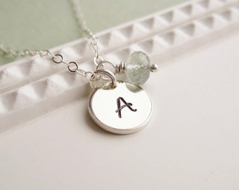 Moss aquamarine necklace March birthstone necklace Personalized gift Dainty silver initial necklace Gift for Mom jewelry Mothers necklace