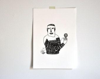 The Knitter - original art gocco screenprint