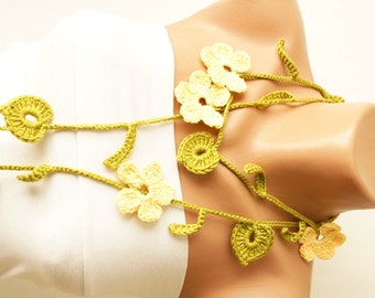 Spring, Moss Green Leaf and Yellow Flower Cotton Necklace, scarf, lariat