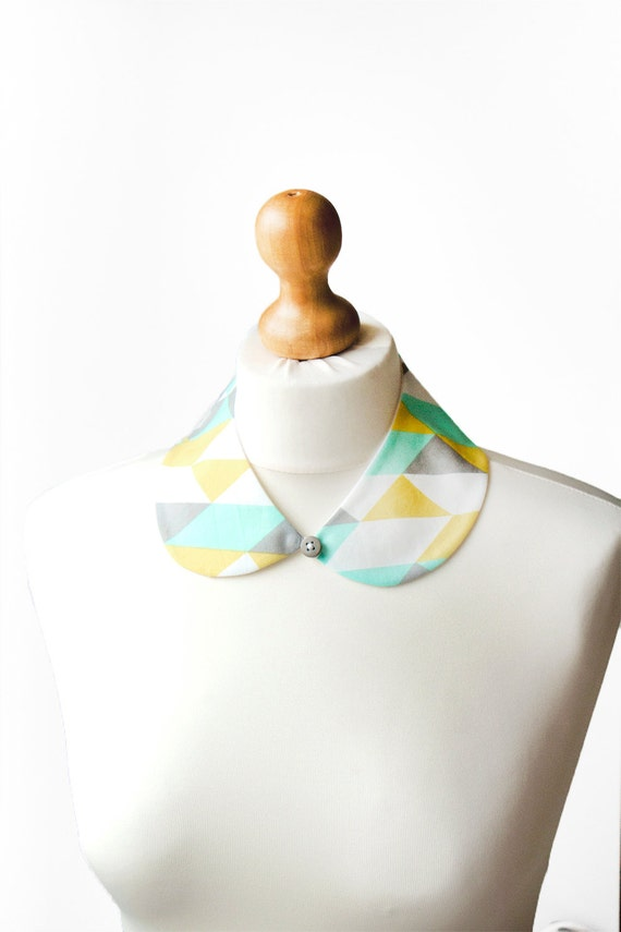Limited Edition Peter Pan Collar Minty Geometric