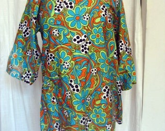 Vintage 1960's Most Adorable Psychedelic Butterfly Smock EVER