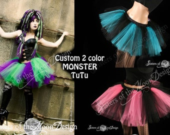 Custom Color Monster tutu skirt adult gothic rave dance party petticoat bridal costume - You Choose Size & Colors -Sisters of the Moon