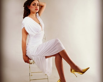 Grecian Goddess White Vintage 80s Party Dress Casadei Saks Fifth Ave 6 S M NEW with Tags