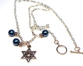 Jewish Star of David Blue Pearl Necklace