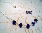 Royal Blue Necklace and Ear Threader Earrings Set