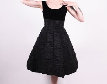 50s Dress - Miss Perette Black Coffin Runched Cocktail Dress - Circle Skirt - Small