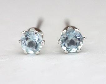 Blue Topaz Stud Earrings 3mm 4mm 5mm  Sterling Silver October Birthstone Genuine Topaz Gemstones From Brazil