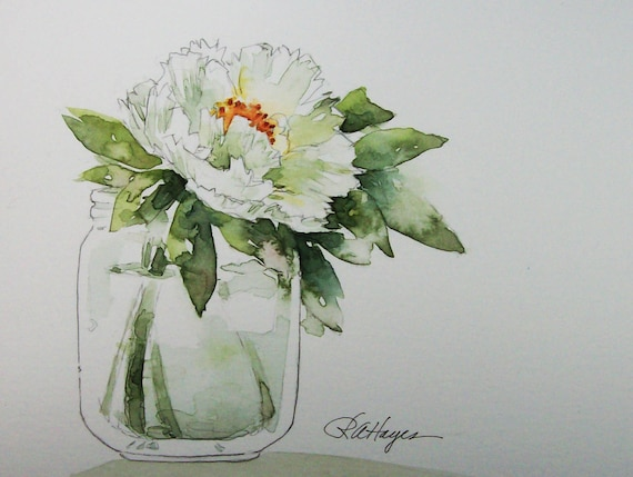 White Peony In Glass Jar Original Watercolor Painting Flowers