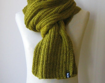Mustard Yellow Wool Hand Knit Scarf, Shawl, Man Waves Scarf, Long Winter Scarf, Cables Knit Scarf, Wrap Scarf, Womens Scarves, Neck Warmer
