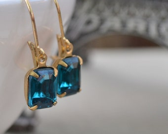 Zircon Estate Rhinestone Lever Back Earrings, Vintage Blue Glass Rhinestone and Brass, Bridesmaids Earrings