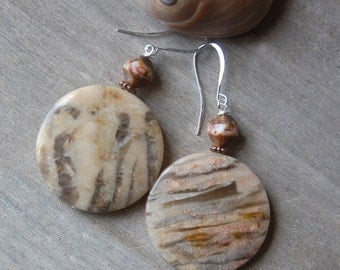 Natural Stone Earrings, Neutral, Round, Statement Jewelry