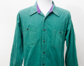 Men's Work Shirt / Lightweight Vintage Green Shirt / Size Large-XL