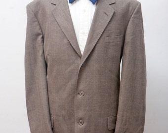 Men's Suit / Vintage Plaid Blazer / Brown Jacket and Trousers / Pierre Cardin / Size 48/XL