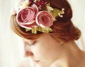 ON ORDER (ships in 1-2 weeks) Flower headband, Magenta pink bridal fascinator, bridal hair crown, floral wedding accessory - CAROUSEL