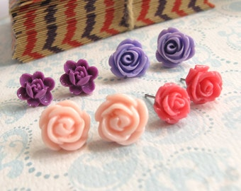 A set of 4 pairs Nature and Wild flowers. Pink Purple shades. Floral earrings. Spring Summer Ear accessories Everyday jewelry