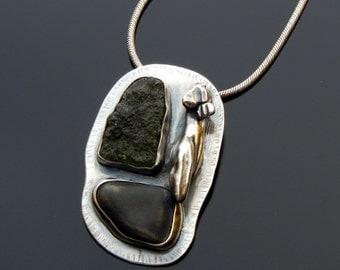 Moldavite and Beachstone Necklace