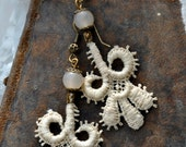 Long Lightweight Antique Lace earrings with milky cream Czech Opaline glass beads and vintage filigree