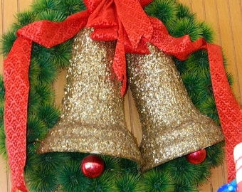 Christmas Wreath, Golden Bells, Circa 1960's Red Bow, Front Door Decor, Plastic Pine Needles, Department Store