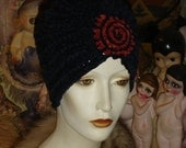 Navy Blue Chenille with Rose Blush Flapper Swami Turban hat
