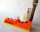 Orange and Lemon Vintage Plastic Desk Supplies Holder